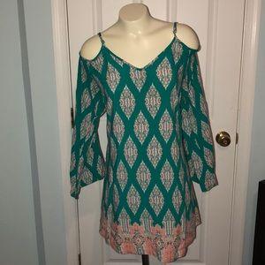XXL long sleeve/cold shoulder bohemian style dress